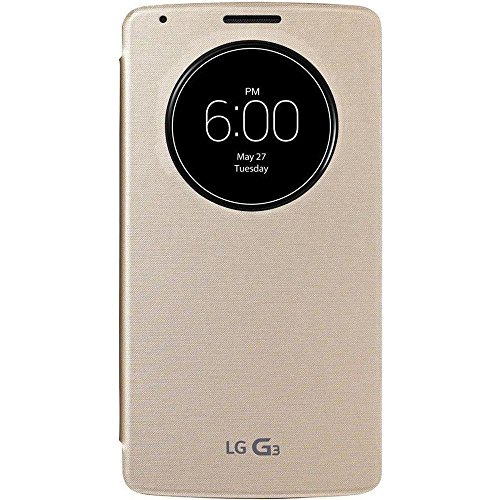 LG Flip Cover - Funda para LG G3 (con círculo central), dorado