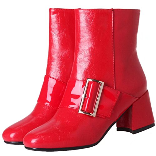Aiyoumei Kvinna Mode Blocket Hälen Dragkedja Bootie Boots Med Spänne Röd