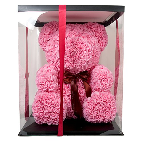 The Rose Bear Teddy Bear Cub Pink Forever Artificial Rose Anniversary Christmas Valentines Gift 27