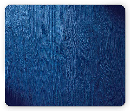 Navy Blue Mouse Pad, Photo of Oak Wood Texture Rustic Nature Inspired in Vintage Style Artful Print, Standard Size Rectangle Non-Slip Rubber Mousepad, Royal Blue,9.8 x 11.8 x 0.118 Inches ()