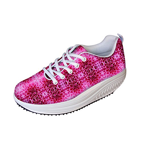 FOR U DESIGNS Vintage Floral Print Fitness Walking Sneaker Casual Womens Wedges Platform Shoes Floral-13 J0jsEgn