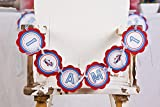 Custom Party Shop - Airplane I AM 1 Birthday Banner - First Birthday High Chair Banner (Red & Blue)
