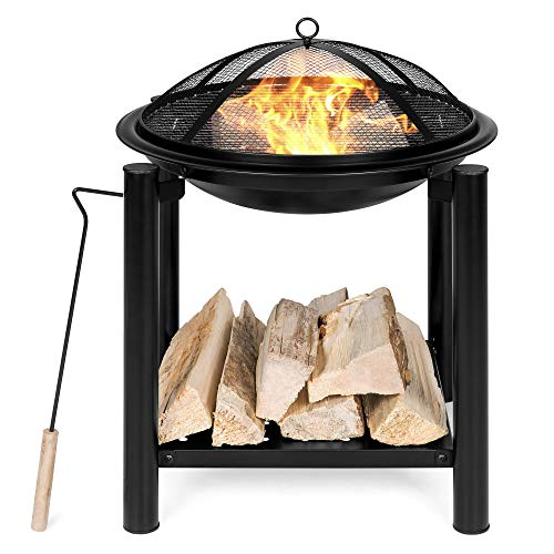 Best Choice Products 21.5in Outdoor Fire Pit Bowl Table and Storage for Patio, Backyard, Balcony w/Shelf, Fire Spark Guard, Log Grate, Poker, Water-Resistant Cover - Black (Bowl Fire Pit Outdoor)