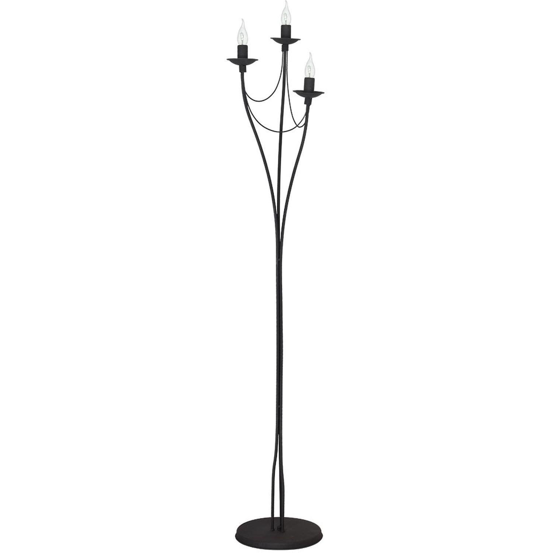 Stehlampe Wohnzimmer Wohnraumleuchte Schwarz Metall 164cm Rustikal