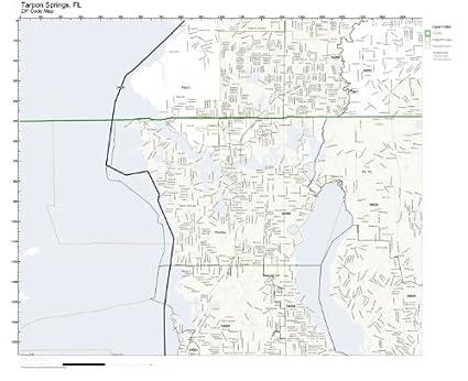 Tarpon Springs Florida Map.Amazon Com Zip Code Wall Map Of Tarpon Springs Fl Zip Code Map