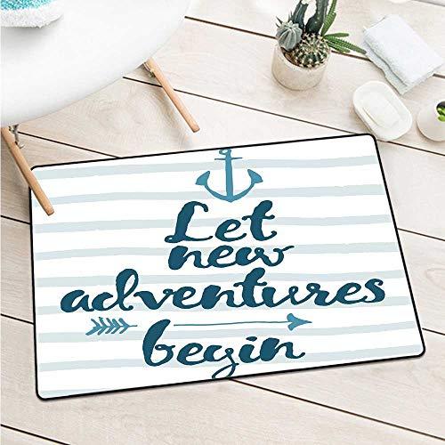 (Custom&blanket Adventure Welcome Door Mat Nautical Stripes Anchor and Arrow Motivational Text Sea Travel Cruise Door Mat Floor Decoration (W19.7 X L31.5 inch,Night Blue Pale)