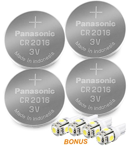 Panasonic ( 4 Pieces - CR2016 + 4 Bonus LED Bulbs ) Lithium Coin Cell Battery