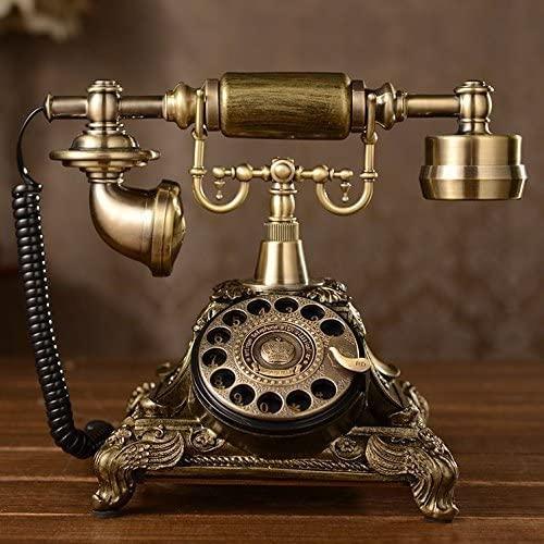 Sharainn Vintage Telephone Vintage Antique Old Telephone European Style White Embed Rhinestone Corded Landline Telephone for Home Office Hotel Decor