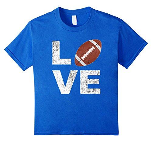 Royal Blue Player T-shirt - Kids LOVE Football Player Fan Parent Distressed Game Day Shirt 12 Royal Blue
