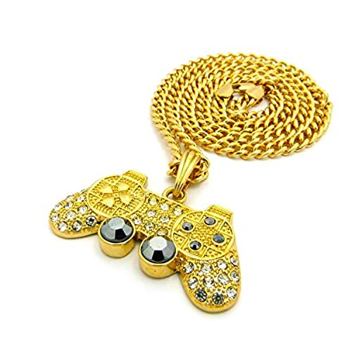 Mens Iced Out Gold Playstation Game Controller PS3 PS4 Pendant Cuban Chain Necklace