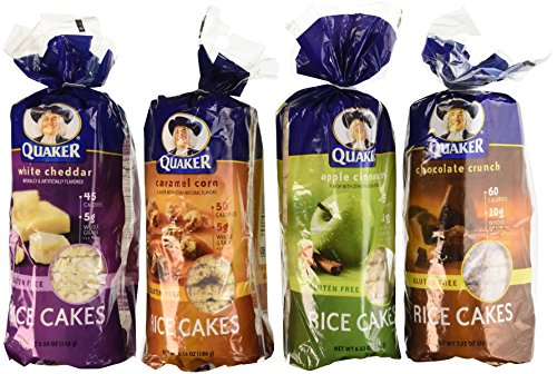 Quaker Rice Cakes Variety Bundle - Pack of 4 Flavors, Chocolate Crunch, Apple Cinnamon, Caramel Corn, White Cheddar