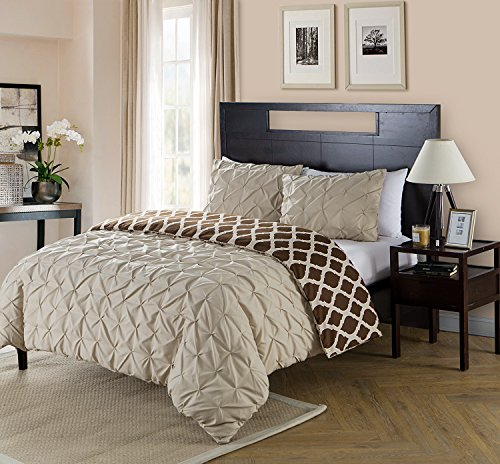 Queen Size Comforter Set Reversible in Taupe / Brown Pinched Pleat 4 Pc Set w/ Decorative Pillows (Brown Queen Sets Comforter And Blue)
