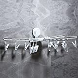 Suction Cup Laundry Drying Racks Folding Clip Drip Hanger Laundry Clothes Hanger Hooks Wall Mounted 15 Clips Drying Clothing Towels/Diapers/ Underwear/Socks