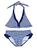 dPois Big Girl Bikini Swimming Costume Striped Pattern Halter Neck Swimsuit Swimwear Tops with Bottom Set Blue 8 Years