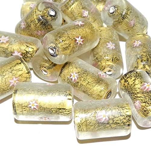 Pink Flower Millefiori Gold Foil 20mm Round Tube Lampwork Glass Bead ()
