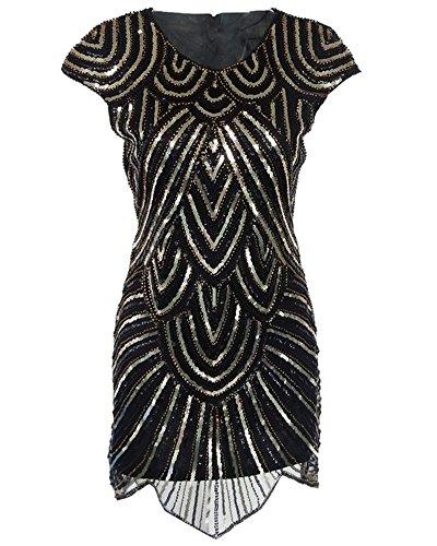 [Whoinshop Women 1920s Great Gatsby Sequined Irregular Hem Mini Flapper Dress with Short Sleeve Black] (Latin Themed Party Costume)