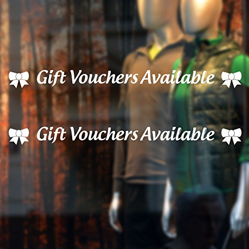 HUANYI Gift Vouchers Available Shop Window Sticker Twin Pack Decal Transfer - Vouchers Available Gift
