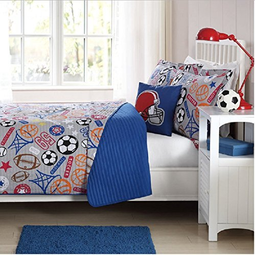 4pc Kids Playful Sports Life Themed Quilt Full Set, Soccer, Base Ball, Pretty Grey Red Orange, Games Pattern, Basket Ball, Football, Sports Logo by Unknown