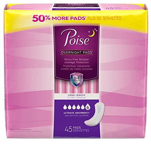 Poise Overnight Pad, Ultimate Absorbency, Long, 45ct - 2 PACK