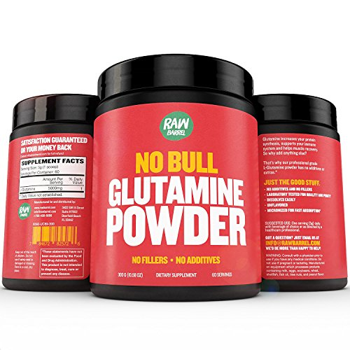 Raw Barrels Pure L Glutamine Powder Unflavored and Micronized Lifetime Moneyback Guarantee 300g 60 Servings with Digital Guide