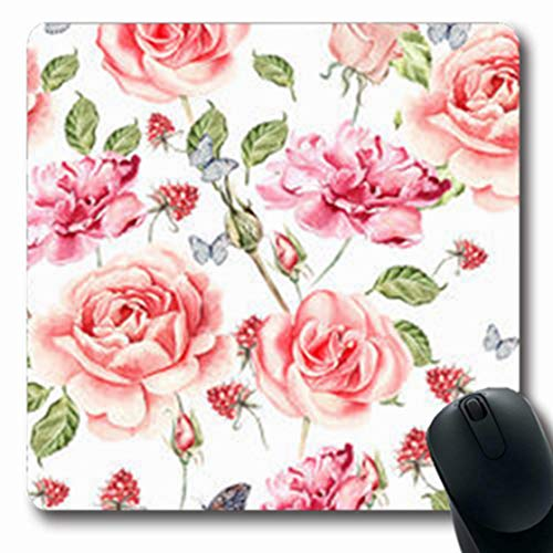 - NOWCustom Oblong Mousepads Bouquet Watercolor Pattern Roses China Anemones Peony Nature Romantic Oblong Shape 7.9 x 9.5 Inches Non-Slip Rubber Mousepad Gaming Mouse Pad