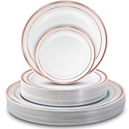 Disposable Plastic Plates - 50 Pcs. Sturdy and Stylish Party Tableware. 25 Dinner Plates and 25 Side/Bread/Dessert/Salad Plates. White with Rose Gold Band. For Elegant Occasions. By Yorparty -