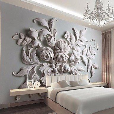zhENfu Embossed White Large Flower Decoratio 3D Fashion Wallpaper
