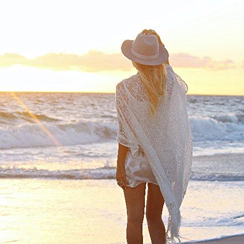Túnica Playa Pareo Camisola de Encaje con Borlas Bikini Cover UpKaftan Playa Cardigán Verano para Mujer Talla única Ropa de Playa
