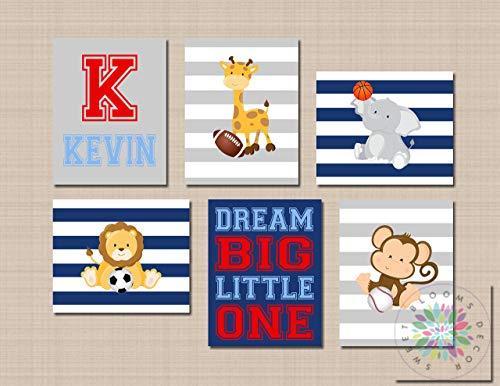 Animals Sports Nursery Wall Art Future All Star Blue Gray Red Safari Sports Decor Monogram Football Soccer UNFRAMED 6 (NOT CANVAS) ()