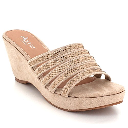Beige Crystal LONDON Prom Heel Wedding Party Sandal On Size Bridal AARZ Diamante Evening Womens Ladies Shoes High Slip Wedge wUttz