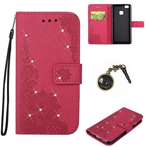 Étui Coque de Protection en Silicone Housse PU Painted PC Case Cover Étui Housse Peau Shell de cas Caches pour (Huawei P9) + Prise de la Poussière