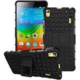 SDO Rigid Dual Layer Kickstand Hybrid Warrior Case Back Cover for Lenovo K3 Note - Black with Clear Screen Guard