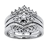 White Diamond in Platinum over .925 Silver 3-Piece Bridal Set (.22 cttw, HI Color, I1-I2 Clarity) Size 10