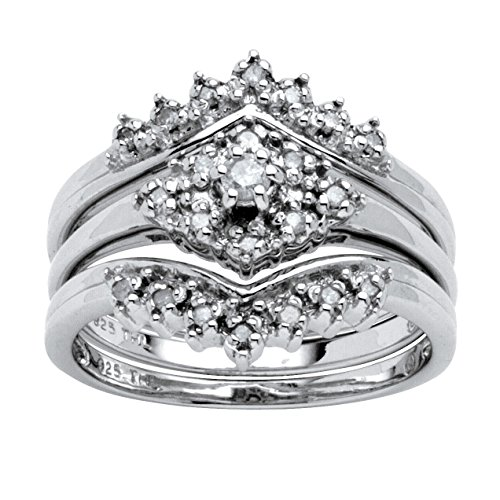 White Diamond in Platinum over .925 Silver 3-Piece Bridal Set (.22 cttw, HI Color, I1-I2 Clarity) Size 7