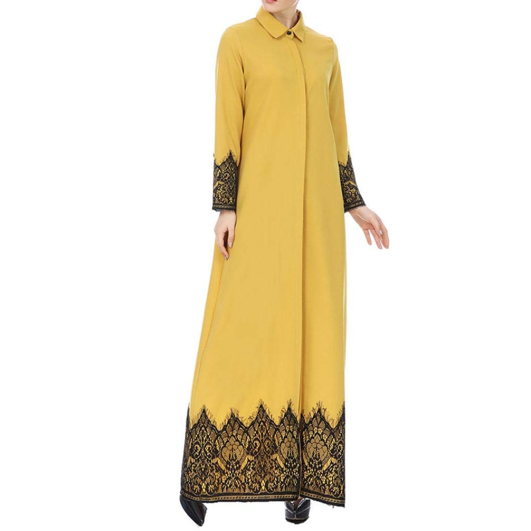 Pandaie Womens Jacket,Muslim Women Lace Trimmed Front Abaya Muslim Maxi Kaftan Kimono