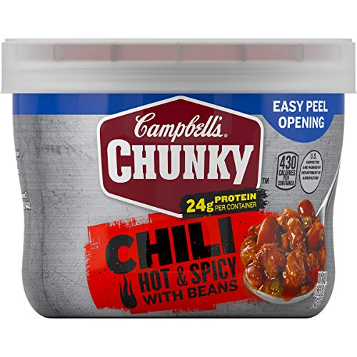 - Campbell's Chunky Hot & Spicy Beef & Bean Firehouse Chili Microwavable Bowl, 15.25 oz. (Pack of 8)