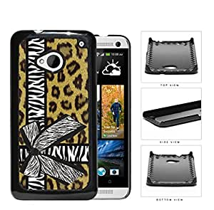 Brown Cheetah Leopard Background Pattern with Zebra Bow Tied Around Background Hard Snap on Phone Case Cover Android HTC One M7