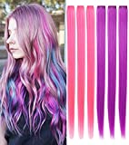 MQ 6PCS Pink Purple Hair Accessories Wig Pieces Clip In/On Multi Colored Hair Extensions For Girls...