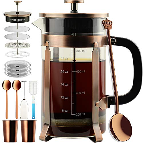 ADAMITA French Press Coffee Maker 8 cups 34 oz 304 Stainless Steel Coffee Press with 4 Filter Screens, Easy Clean Heat Resistant Borosilicate Glass – Free 100 BPA A-Style-Copper-1