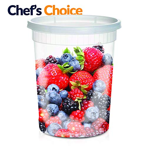 Large Soup Storage Containers | 24 Large 32oz Leakproof Clear Plastic Storage Containers with Lids |Microwavable, Freezer & Dishwasher Safe BPA FREE