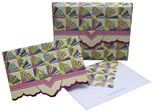 Carol Wilson Fine Arts Inc. Fan Quilt Portfolio Embossed Die Cut Notecards (ncp2357)