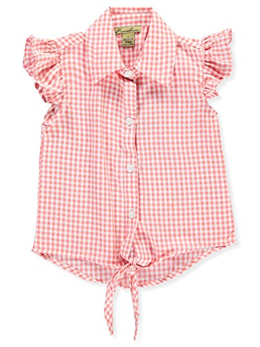 Monalisa Little Girls' Toddler Button-Down Top - red, 4t