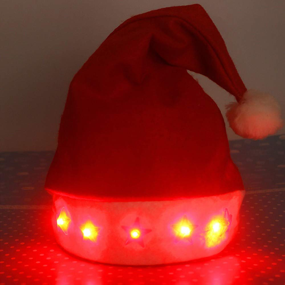Elevin(TM)  Glowing Christmas Hat Luminous Led Red Flashing Star Santa Hat for Adult