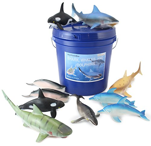 WellPackBox Big Blue Bucket 11 Large Shark Whale Dolphin Toy Animal Figures For Toddlers Kids Boy Girls Bath Tub (Big Whale)