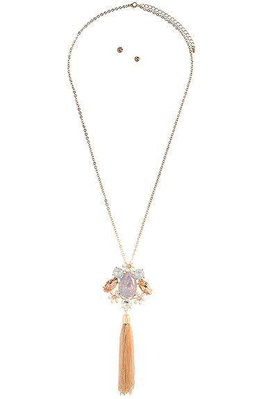9a87212951a9 La joya de cristal de flores Cluster Colgante Collar Set  The Jewel Rack   Amazon.es  Joyería