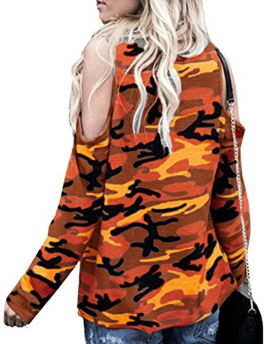 Camouflage de Tops Casual paule et Shirts Tunique Tous Jaune Dnude Printemps Jours Blouses Fashion Femme Les Manches Automne Col Rond T Longues Haut wtTFnnqO80