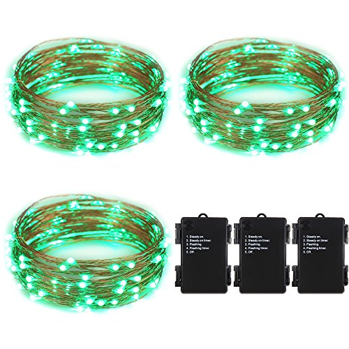 ER CHEN(TM) Indoor and Outdoor Waterproof Battery Operated 100 LED String Lights on 33 Ft Long Ultra Thin Copper String Wire with Timer(Green,3 Pack) (Lamps 100 Lights Green Wire)