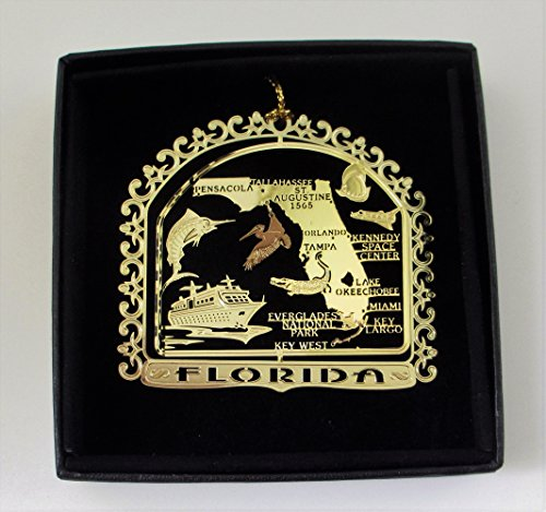 Florida State Brass Ornament Black Leatherette Gift Box