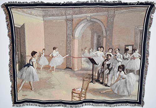 Pure Country Weavers ''The Dance Foyer at the Opera on the rue Le Peletier Blanket'' Tapestry Throw by Pure Country Inc.