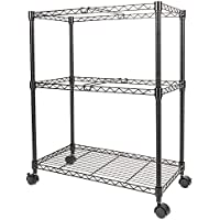 FCH 2-Tier Metal Rolling File Cart Portable File Cart for Letter Size and Legal Size Folder with 4 Rolling Wheels Black